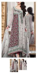Grey/Mauve Crinkle Chiffon Suit - Buy Pakistani Dresses Online